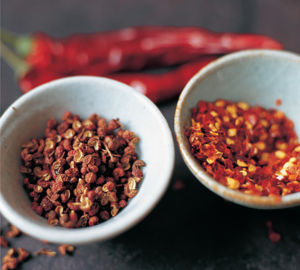 Sichuan Peppercorns (L) and Dried Red Chile (R)