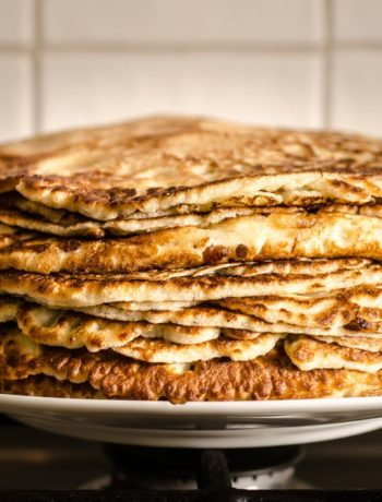 Pancakes with Buttered Maple Pecan Syrup
